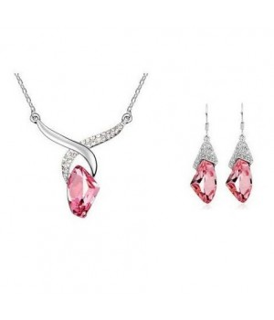 Platinum Plated Trendy Set Available in Blue or Pink main Crystal and small white crystals FJS1009