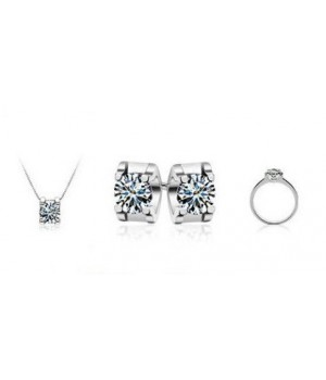 Platinum Plated High Quality Cubic Zircon Solitaire Style Set FJS1011