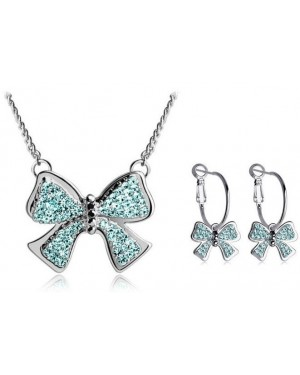 18K White Gold Plated Unique Bow-knot Style Set made with Blue AU Rhinestone Crystals FJS1012