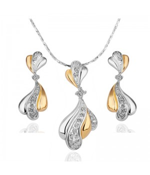 High Finish 2 Tone 18K White and Yellow Gold Plated Beautiful Set made with AU Rhinestone Crystals FJS1013