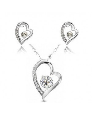 18K White Gold Plated Unique Heart Set made with White AU Rhinestone Crystals FJS1016