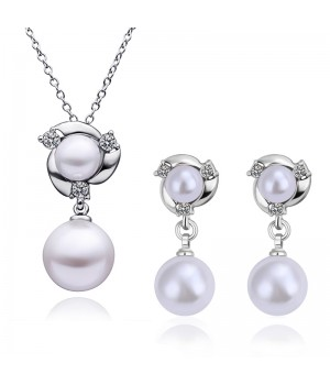 18K White or Rose Gold Plated Unique High Quality Crystal Pearl set with small White Rhinestone Crystals FJS1017