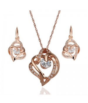 18K White or Rose Gold Plated Beautiful Twisted Heart Set FJS1018