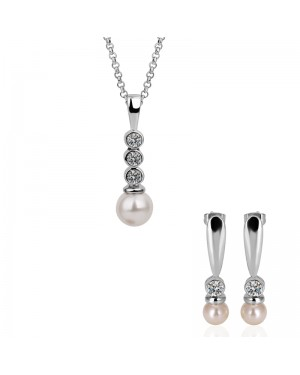 18K White Gold Plated High Quality Beautiful Long Crystal Pearl Set FJS1022
