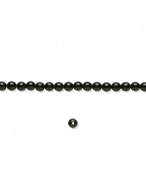 Black Onyx Round Smooth Beads 3mm Sold Per 16 inch Strand