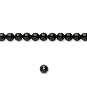 Black Onyx Round Smooth Beads 4MM Sold Per 16 inch Strand