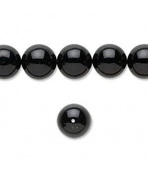 Black Onyx Round Smooth Beads 10MM Sold Per 16 inch Strand