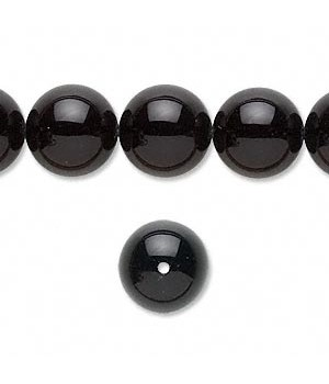 Black Onyx Round Smooth Beads 12MM Sold Per 16 inch Strand