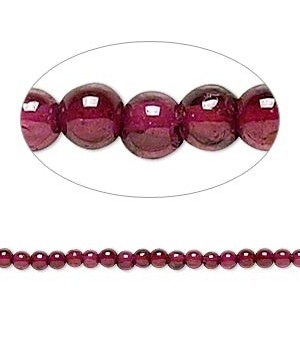 Garnet dyed Round Smooth Beads 3 - 3.5 MM Sold Per 16 inch Strand