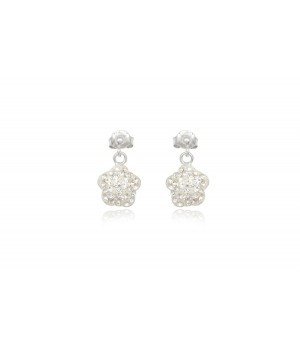 925 Silver White Crystal Flower Drop Earrings SVE5001