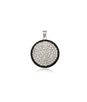 925 Silver White and Black Crystal Pendent SVP5001