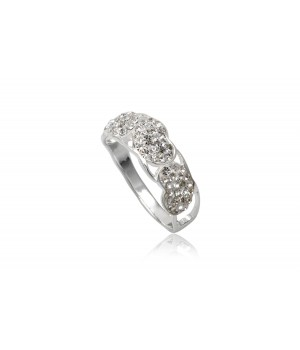 925 Silver White Crystal Ring SVR5001