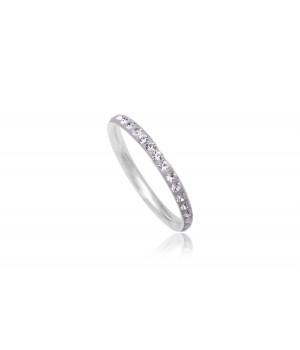 925 Silver White Crystal Wedding Band SVR5002